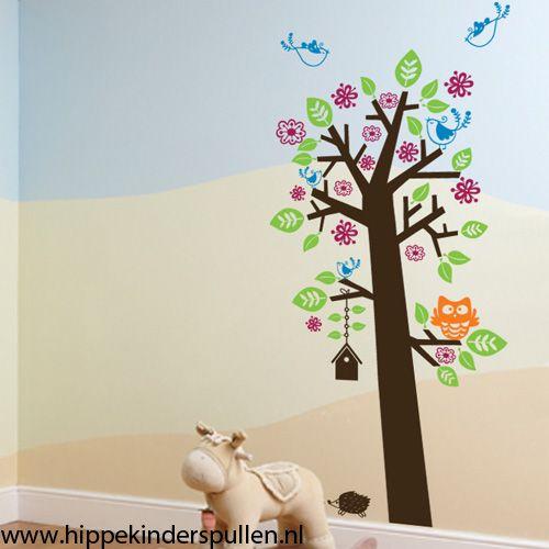 Sticker Boom Kinderkamer.Muursticker Boom Met Uil En Vogelhuisjes Muurstickers Bomen En Takken
