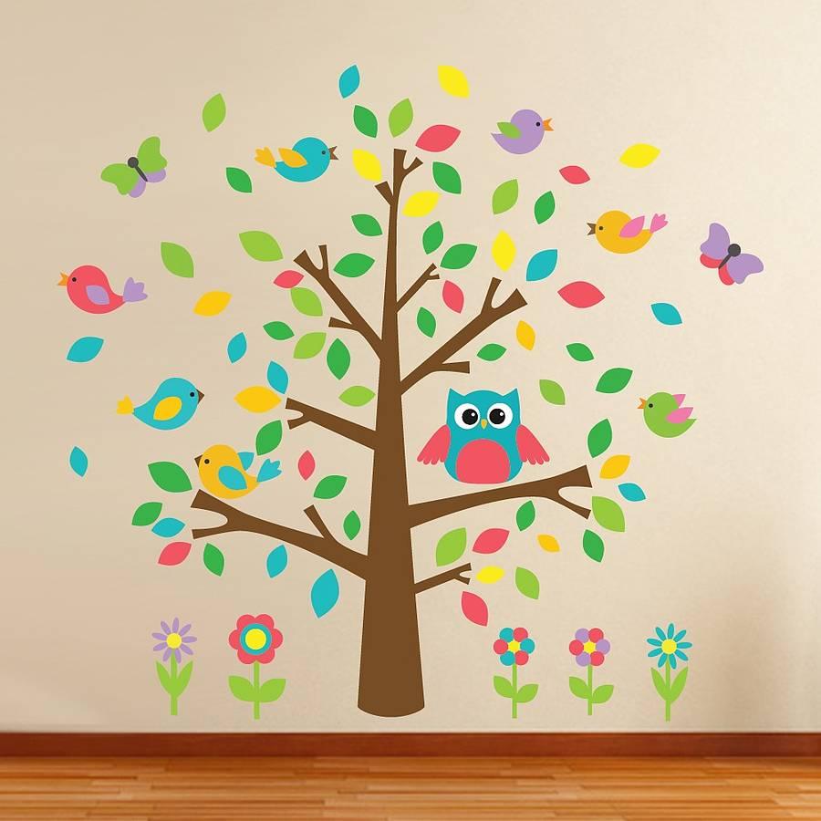 Muurstickers Kinderkamer Uil.Muursticker Boom Met Uil En Vogeltjes Muurstickers Bomen En Takken