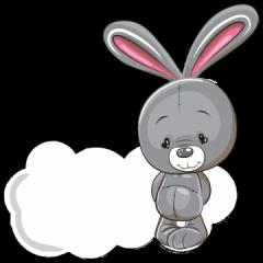 geboortebord tuin konijntje met wolk