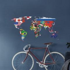 Wereldkaart muursticker vlaggen