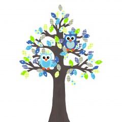 Behangboom uil blauwgroen