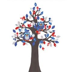 Behangboom uil blauw