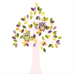 Behangboom uil retro paarsgroen