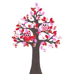 Behangboom uil rood