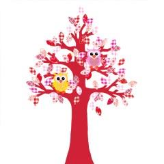 Behangboom uil roodroze