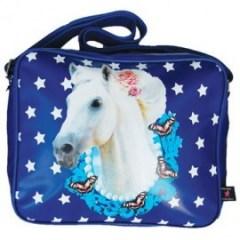 De Kunstboer schooltas paard blauw