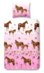 Dekbedovertrek paarden roze