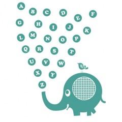 Muursticker alfabet olifant