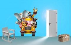 Muursticker schoolbus met dieren