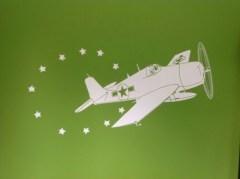 muursticker vliegtuig, vliegtuig sticker. stoere sticker kinderkamer, jongens sticker, piloten kamer