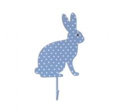 Kapstokhaakje konijn stippen blauw