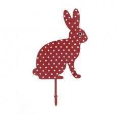 Kapstokhaakje konijn stippen rood