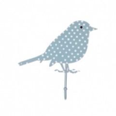 Kapstokhaakje vogel stippen blauw