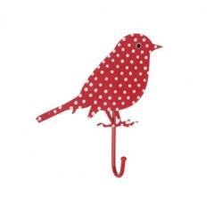 Kapstokhaakje vogel stippen rood