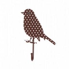 Kapstokhaakje vogel stippen bruin
