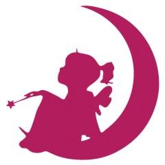 Muursticker meisje op de maan