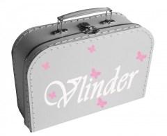 Koffertje met vlinders en naam