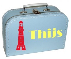 Koffertje met vuurtoren en naam