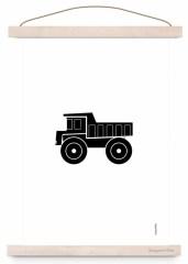 Poster kiepauto zwart/wit