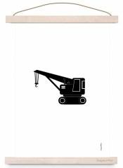 Poster kraanwagen zwart/wit