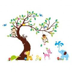 muursticker boom met dieren, dieren muursticker, aapjes, olifantjes
