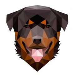 Muursticker diamond rottweiler