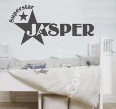 muursticker superstar, muursticker met naam