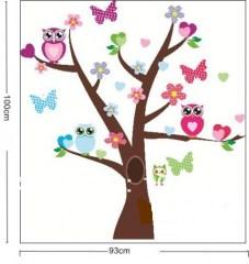 muursticker boom met uiltjes en vlinders