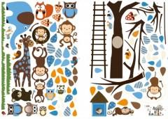 Muursticker boom met dieren, kinderkamer muursticker boom