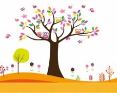 muursticker boom met uilen, uilen muursticker, kindersticker boom