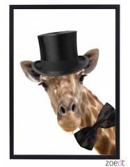 Poster giraf met hoed en strik