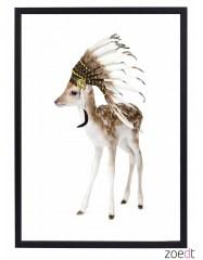 Poster hert met indianentooi
