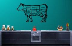 muursticker vleeskoe, sticker keuken