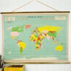 Wandplaat wereldkaart